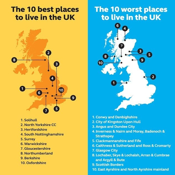 Best and worst places to live in the uk revealed propwealth for Top 10 best cities to live in