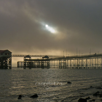 Misty morning at Mumbles Pier.  Swansea.