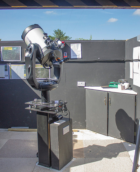 """Inside the  Observatory showing the state of the art Celestron 11"""" HD computer driven telescope"""