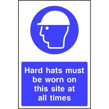 Hard hats must be worn on this site at all times (Mandatory)
