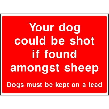 Your dog could be shot if found amongst sheep Dogs must be kept on a lead