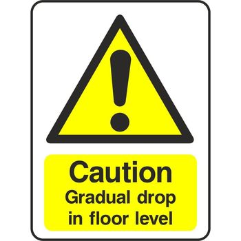 Caution Gradual drop in floor level