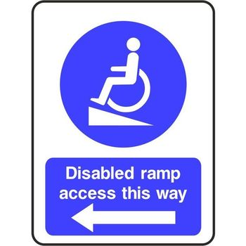 Disabled ramp access this way (arrow left)