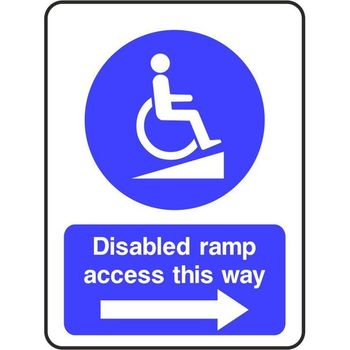 Disabled ramp access this way (arrow right)