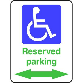 Reserved parking for Disabled with arrow