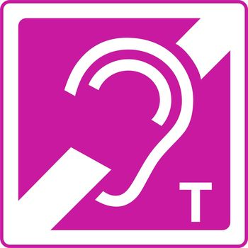 Hearing aid with T symbol