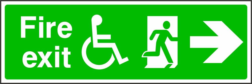 Fire Exit Disabled Symbol Running Man On The Right With Arrow To