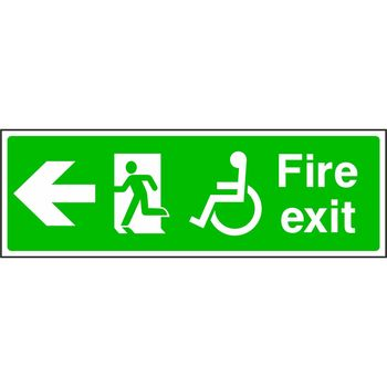 Fire Exit Disabled Symbol Running Man On The Left With Arrow To