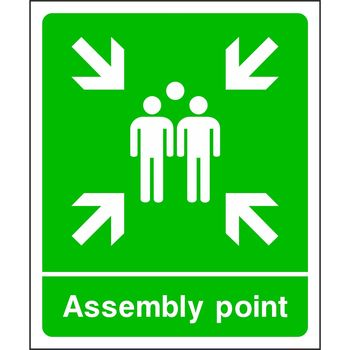 Assembly point with muster point symbol