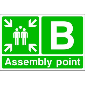 Assembly point with muster point symbol and letter B