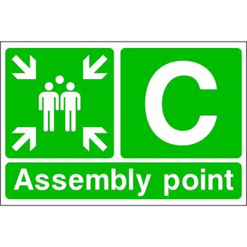 Assembly point with muster point symbol and letter C