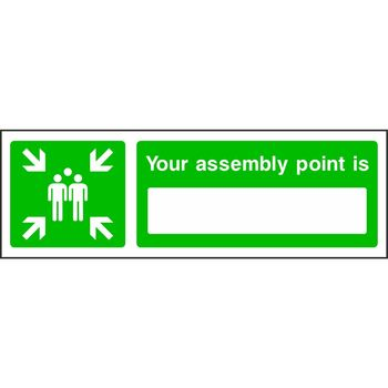 Your assembly point is with muster point symbol on the left