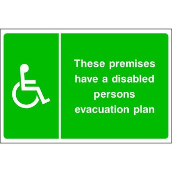These premises have a disabled persons evacuation plan (disabled symbol on the left)