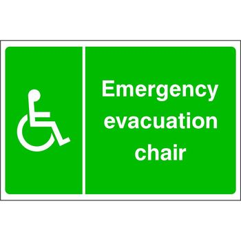 Emergency evacuation chair (disabled symbol on the left)