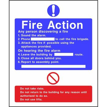 Fire action sign standard