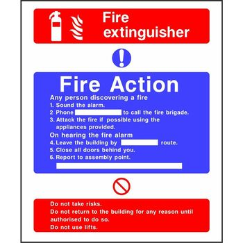 Fire Action Notice with Fire extinguisher