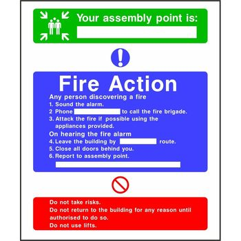 Fire Action Notice with Your Assembly Point is