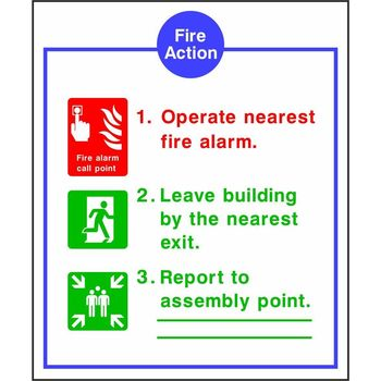 Fire Action Notice with Operate nearest fire alarm