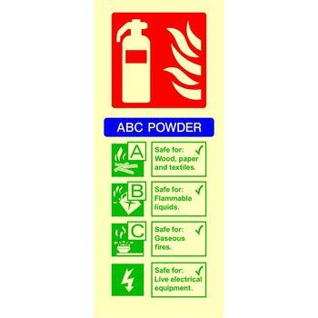Fire extinguisher identification - ABC POWDER Photoluminescent