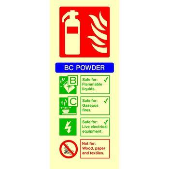 Fire extinguisher identification - BC POWDER Photoluminescent