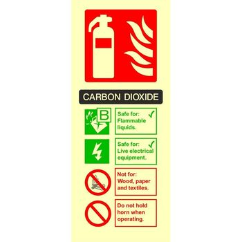Fire extinguisher identification - CARBON DIOXIDE Photoluminescent