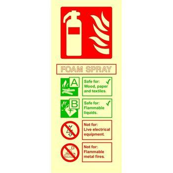 Fire extinguisher identification - FOAM SPRAY Photoluminescent