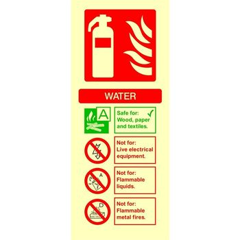 Fire extinguisher identification - WATER Photoluminescent