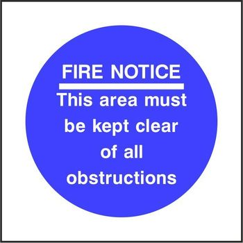 FIRE NOTICE This are must be kept clear of all obstructions