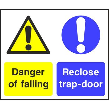 Danger of falling Reclose trap-door