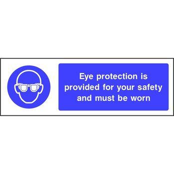 Eye protection is provided for your safety and must be worn