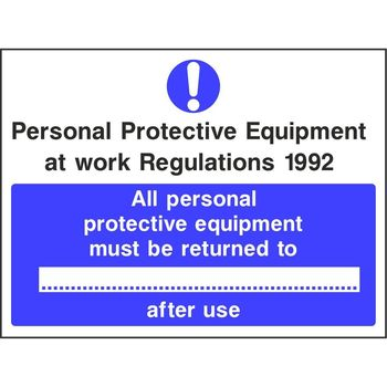 PPE at work regulations 1992 All personal protective equipment must be returned to
