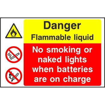 Danger Flammable liquid No smoking or naked lights when batteries are on charge