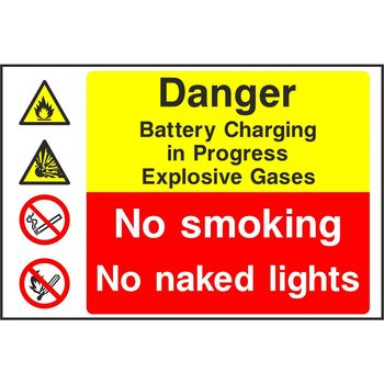 Danger Battery Charging in Progress Explosive Gases No smoking No naked lights