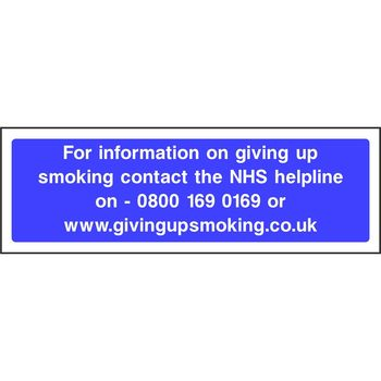 For information on giving up smoking contact the NHS helpline