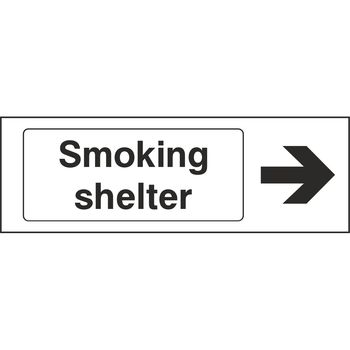Smoking shelter with arrow to the right