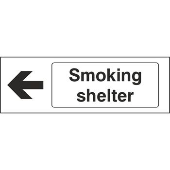 Smoking shelter with arrow to the left