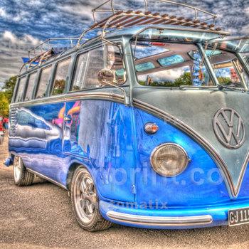 Blue Volkswagon Camper