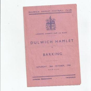 Dulwich Hamlet v Barking London Charity Cup 1946/47