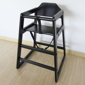 Black Stackable Wooden Baby Feeding Highchair