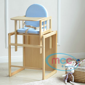 Blue 3 In 1 Baby Wooden High Chair With Play Table Cushion & Harness