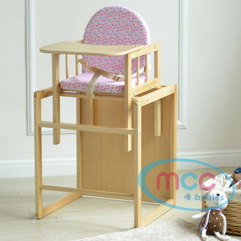 Pink 3 In 1 Baby Wooden High Chair With Play Table Cushion & Harness