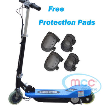 Blue Electric E Scooter Ride on Rechargeable Battery Height Adjustable 120W 24V