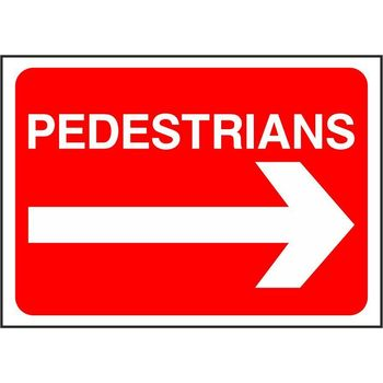Pedestrians with arrow right