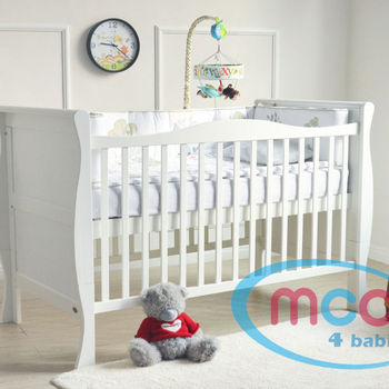 Wooden Baby Sleigh Cotbed With Repellent Mattress 140x70cm