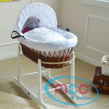 Full Set Brown Wicker Moses Basket With Mattress, Cover and Rocking Stand