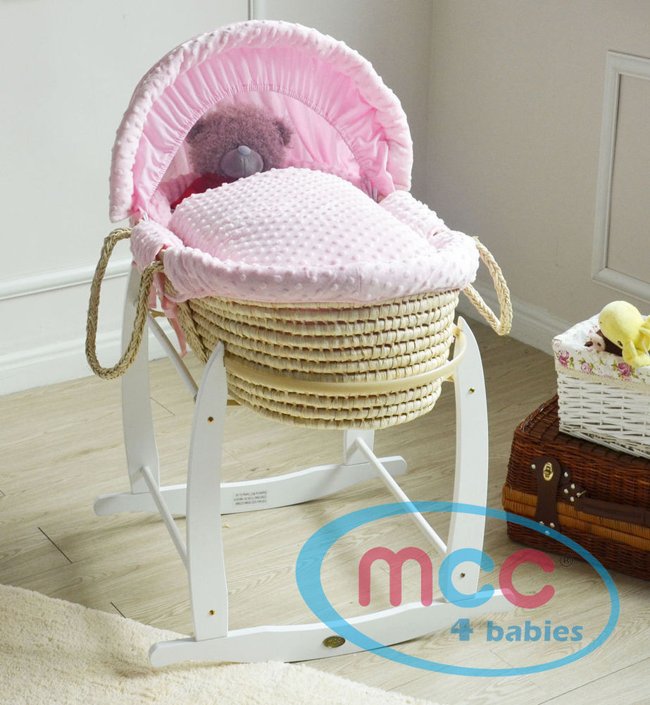 Full Set Deluxe Palm Moses Basket With Pink Cotton