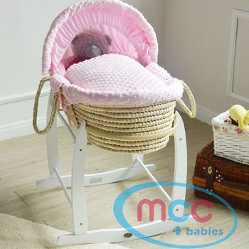 Full Set Deluxe Palm Moses Basket With Pink Cotton Dressing & Rocking Stand