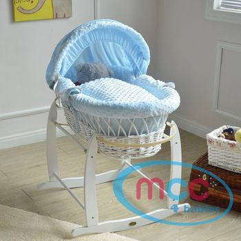 Full Set Deluxe White Wicker Moses Basket With Blue Cotton Dressing & Rocking Stand