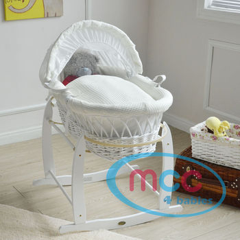 Full Set Deluxe White Wicker Moses Basket With Cream Cotton Dressing & Rocking Stand