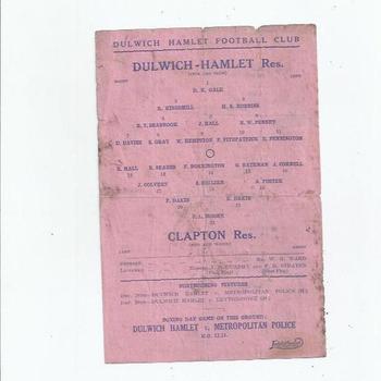 Dulwich Hamlet Res v Clapton Res 1946/47